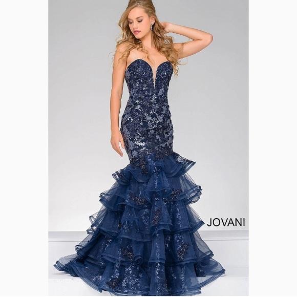 f9a50ecabdcf Jovani Dresses | Nwt Navy Ruffled Mermaid Prom Dress Sz 78 | Poshmark